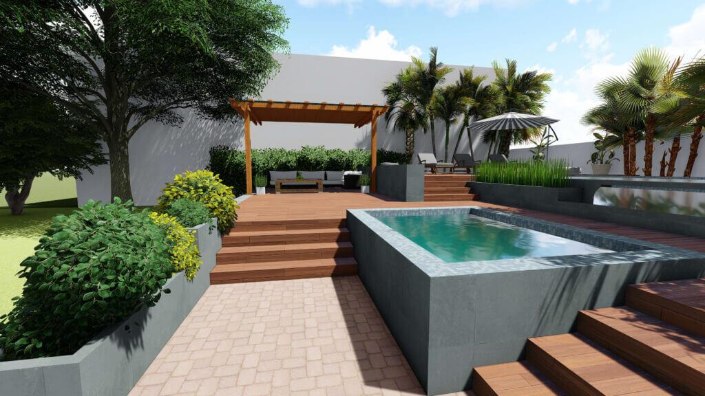Gartenplanug D WPC Terrasse im Garten  Modell scaled